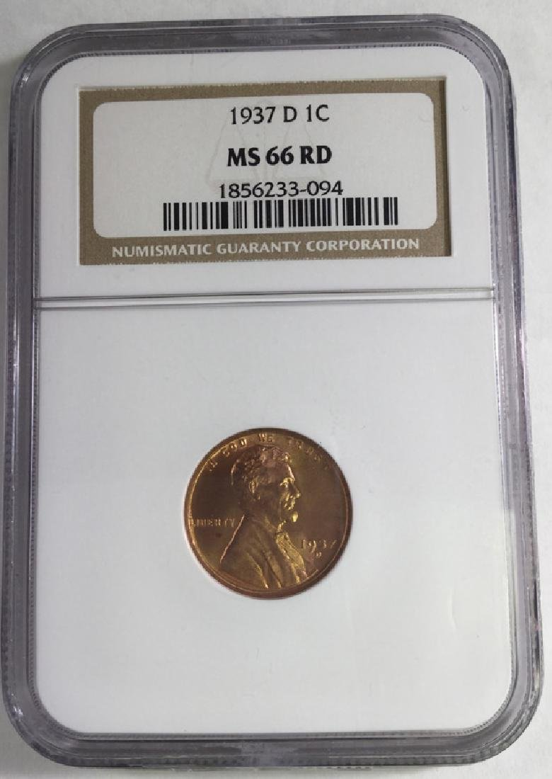 1937D 1 CENT LINCOLN PENNY MS66 RD