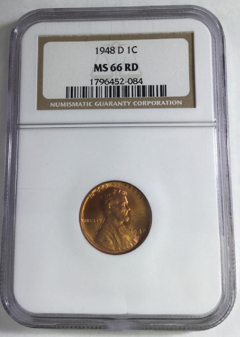 1948 D 1 CENT LINCOLN  PENNY MS66 RD