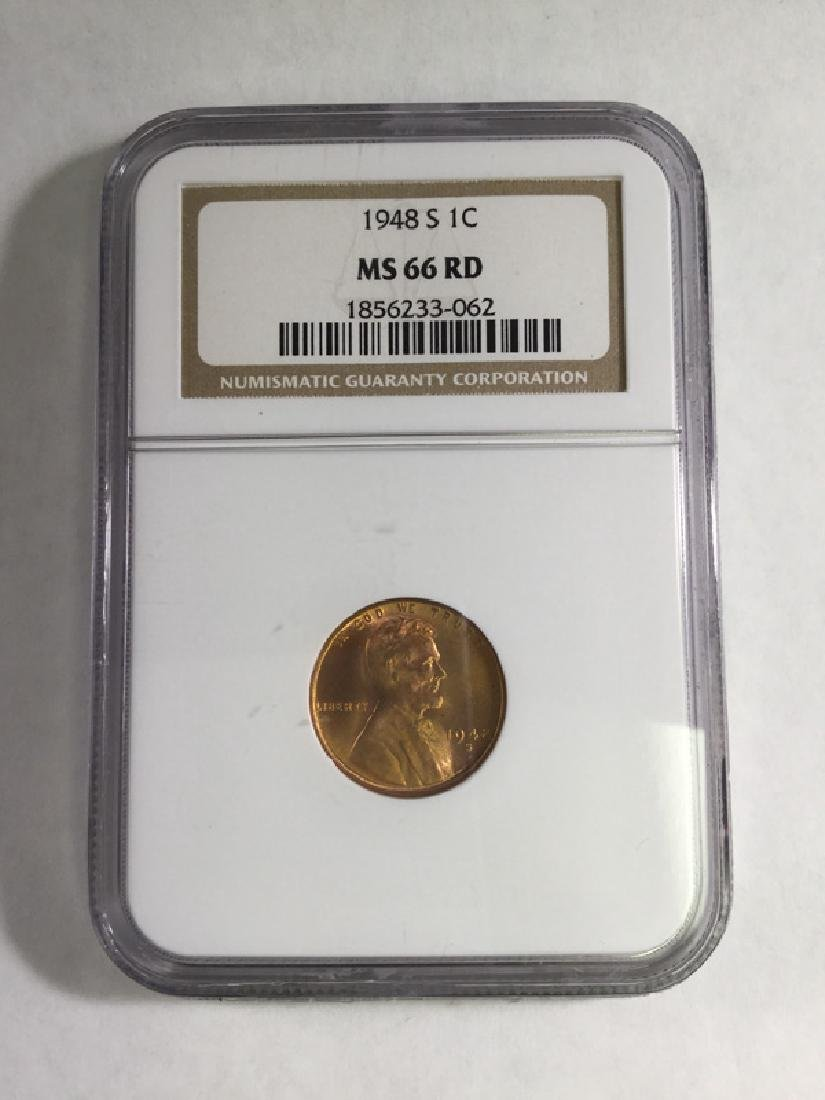1948S 1 CENT LINCOLN PENNY MS66 RD