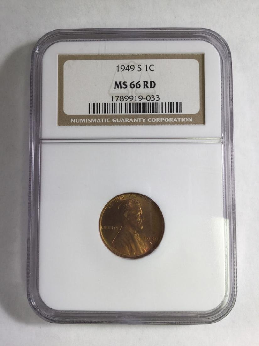 1949S 1 CENT LINCOLN  PENNY MS66 RD