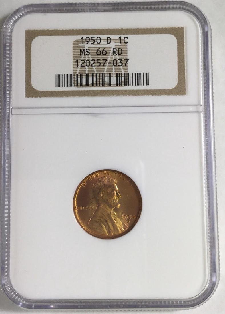 1950 D 1 CENT LINCOLN PENNY MS66 RD
