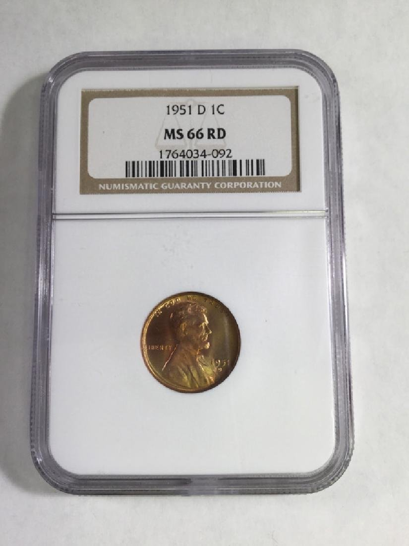 1951 D 1 CENT LINCOLN PENNY MS66 RD