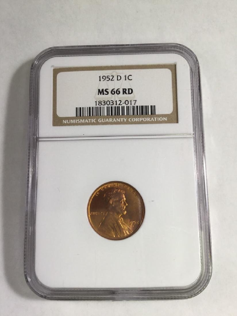1952 D 1 CENT LINCOLN PENNY MS66 RD