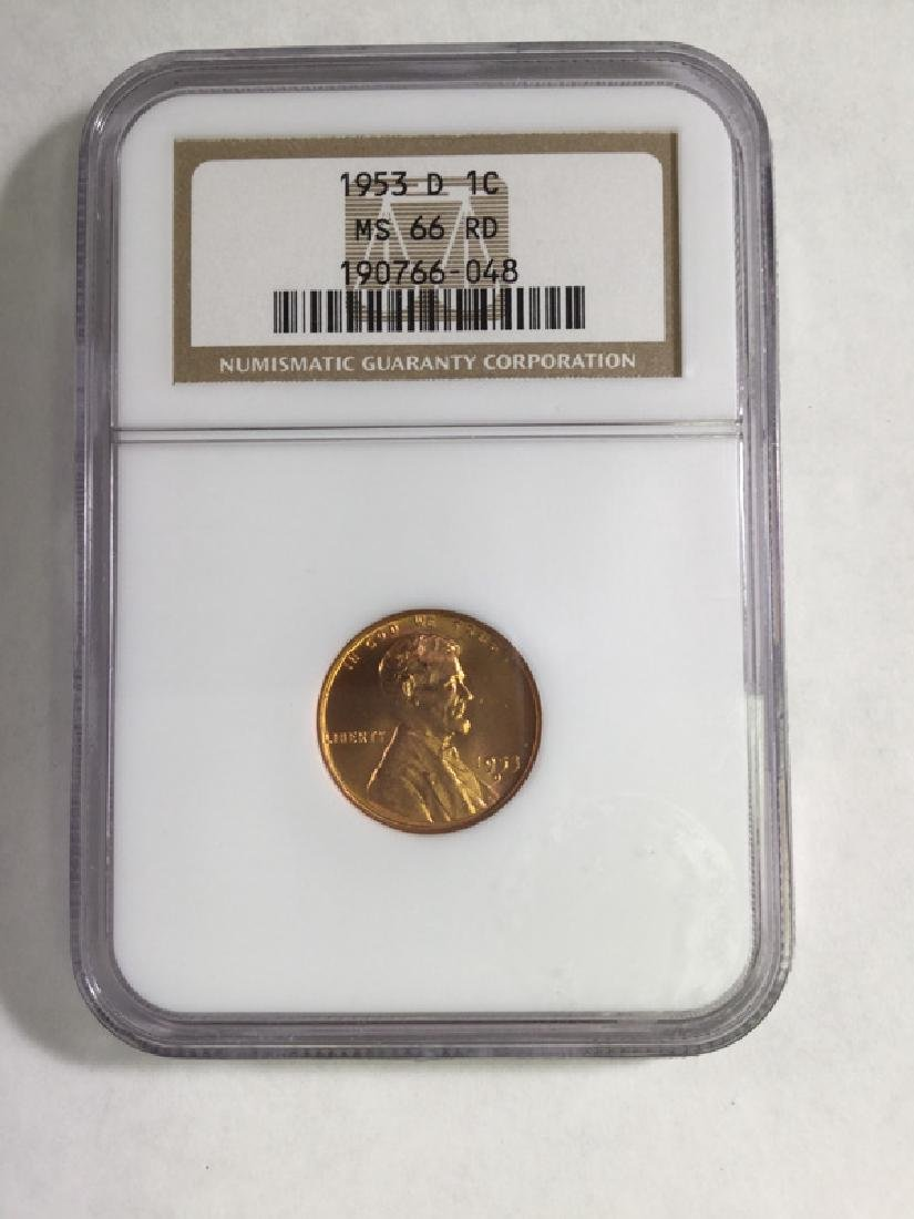 1953D 1 CENT LINCOLN  PENNY MS66 RD
