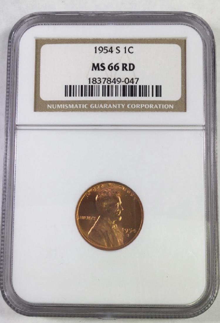 1954S 1 CENT LINCOLN PENNY MS66 RD