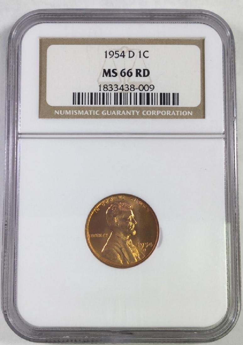 1954D 1 CENT LINCOLN PENNY MS66 RD