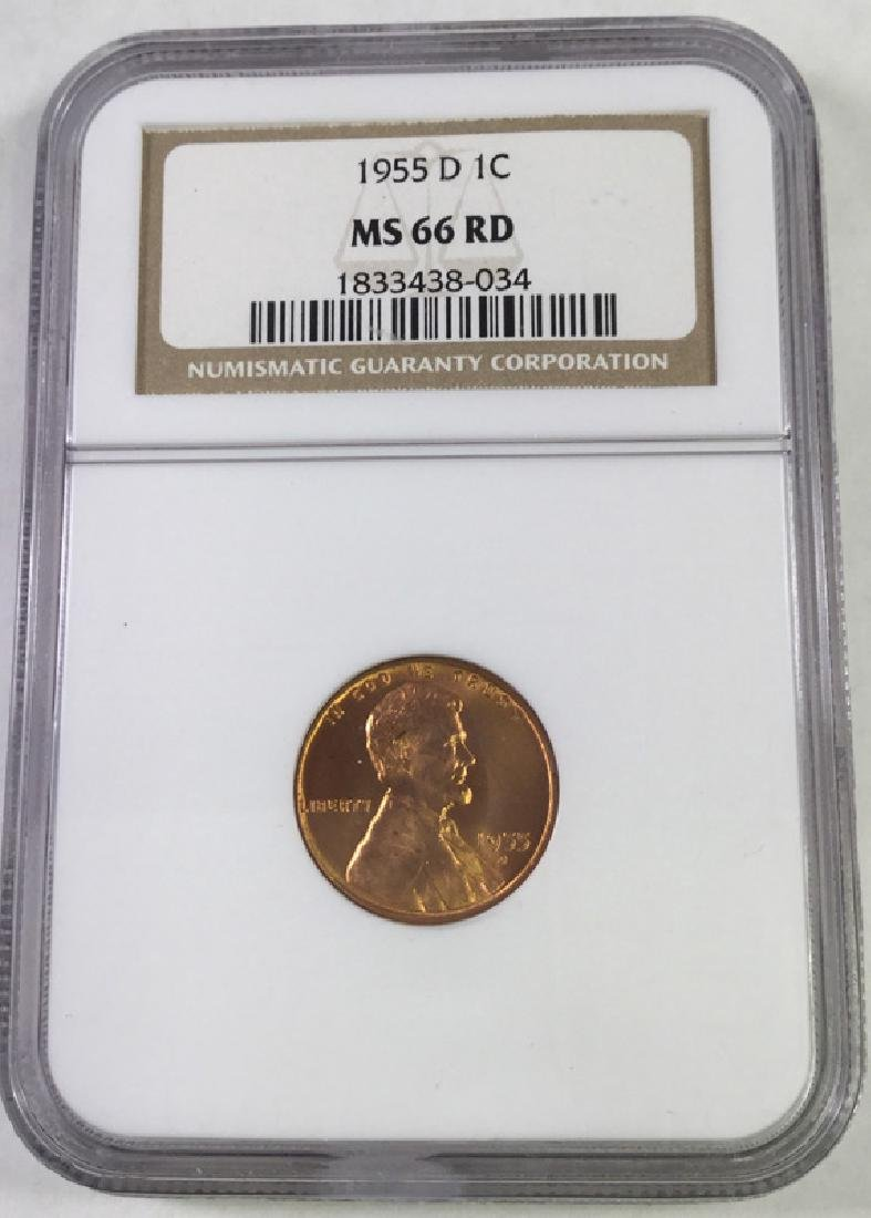 1955D 1 CENT LINCOLN PENNY MS66 RD