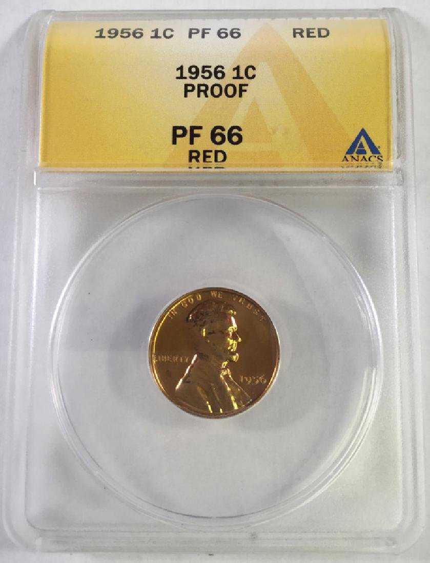 1956 1 CENT LINCOLN PENNY PROOF 66 RED