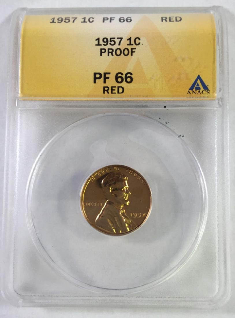 1957 1 CENT LINCOLN PENNY PROOF 66 RED