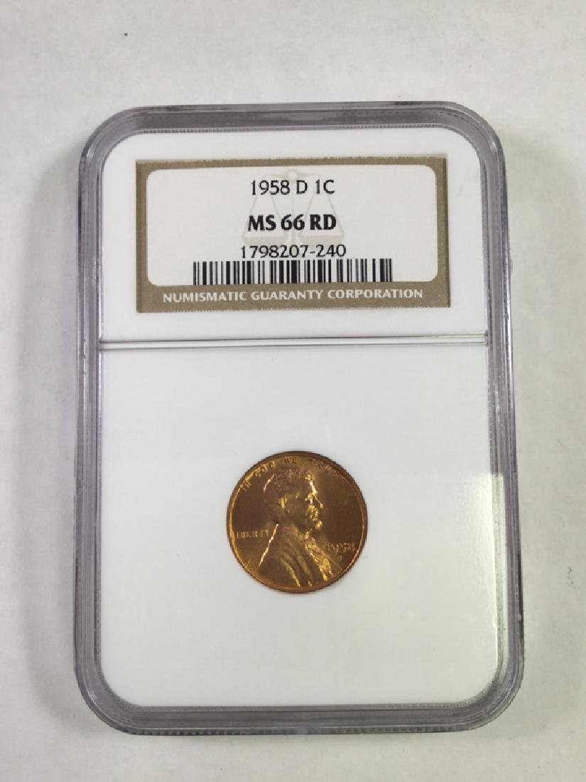 1958D 1 CENT LINCOLN PENNY MS66 RD