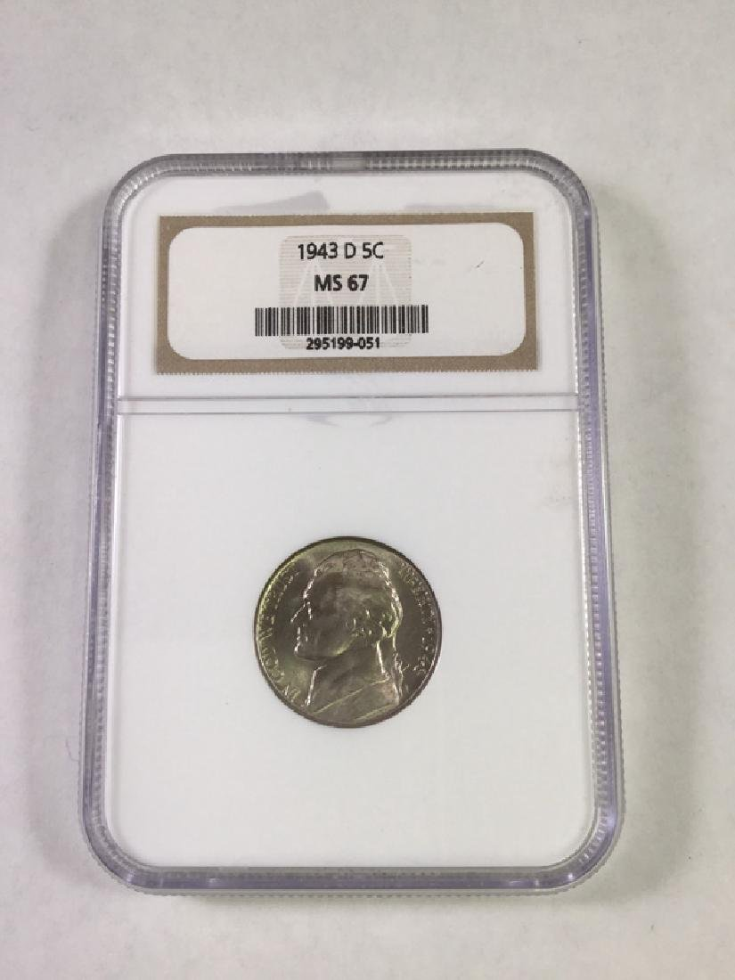 1943 D 5 CENT JEFFERSON NICKEL MS67