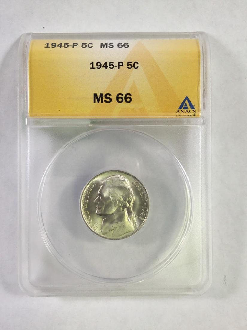 1945 5 CENT JEFFERSON NICKEL MS66