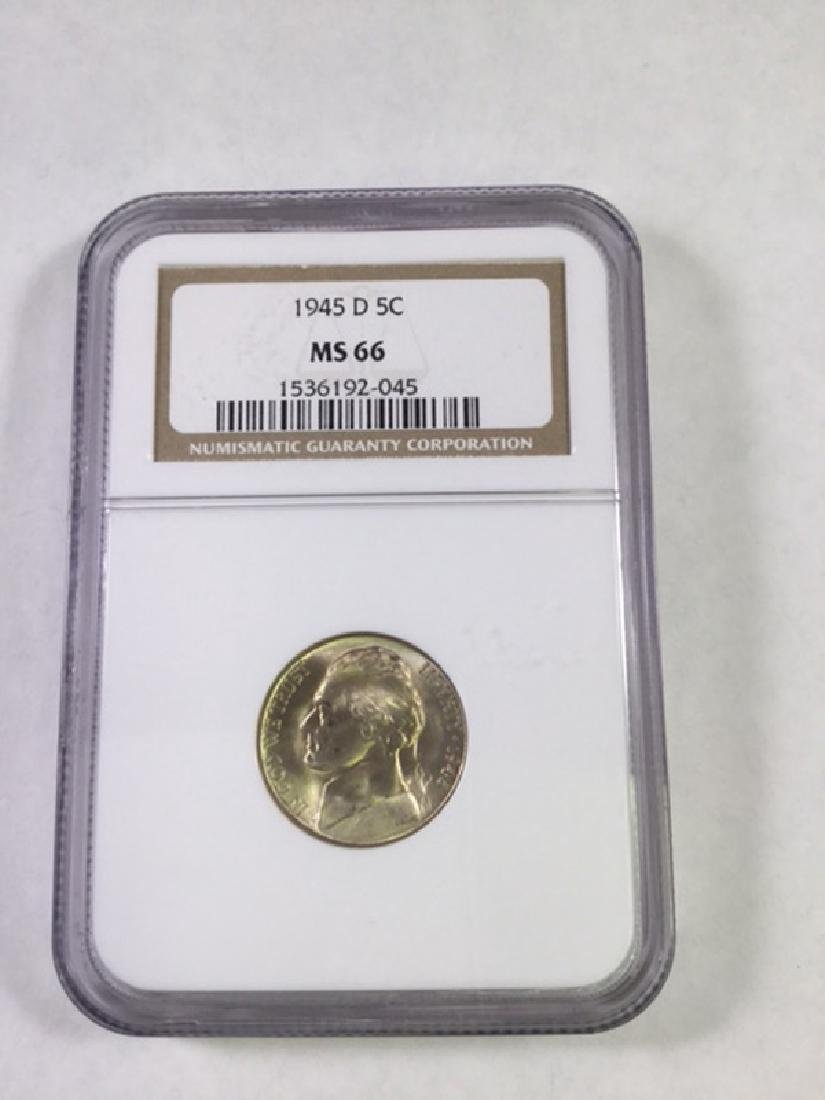 1945D 5 CENT JEFFERSON NICKEL MS66