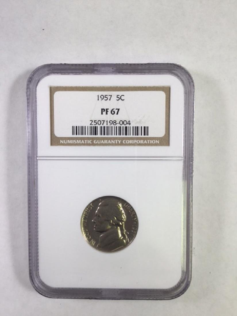 1957 5 CENT JEFFERSON NICKEL PF 67