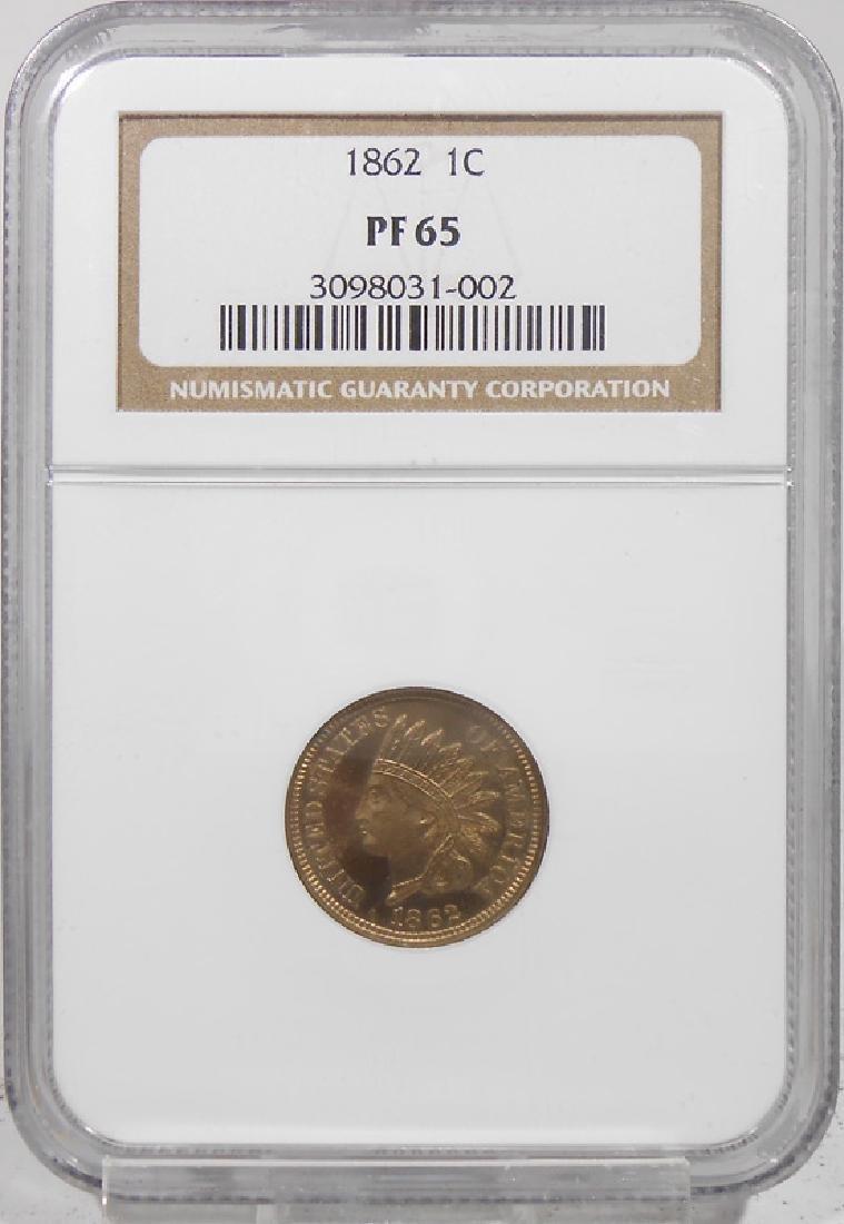 1862 1 CENT PF-65
