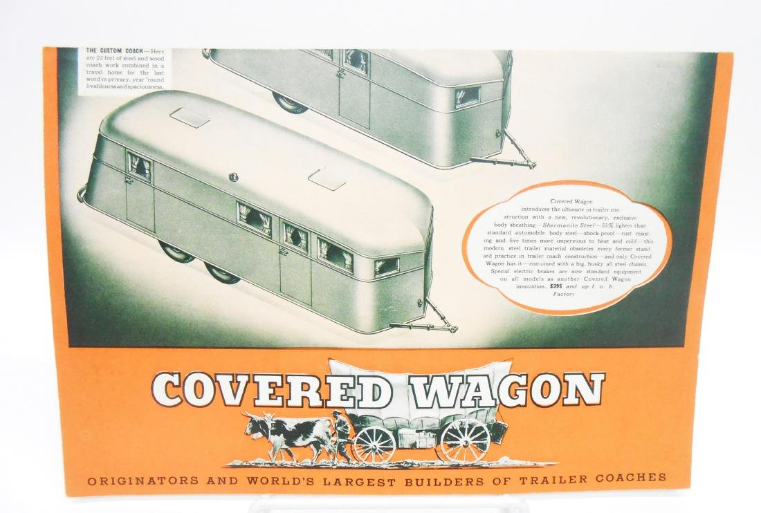 "(3) TRAILER ""COVERED WAGON"" SALES BROCHURES"