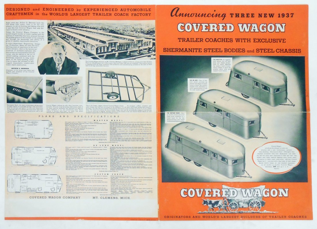 """(3) TRAILER """"COVERED WAGON"""" SALES BROCHURES - 4"""