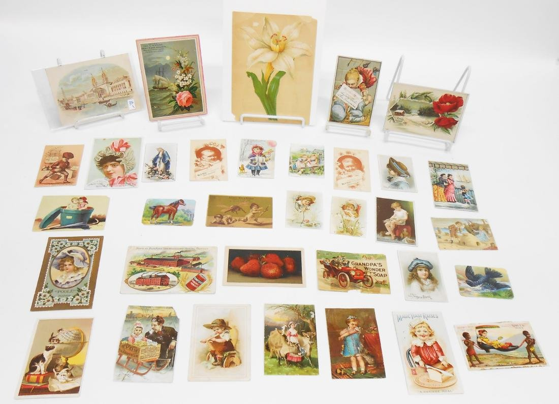 LITHO ADVERTISING TRADE CARDS, ETC. (APPROX 34)
