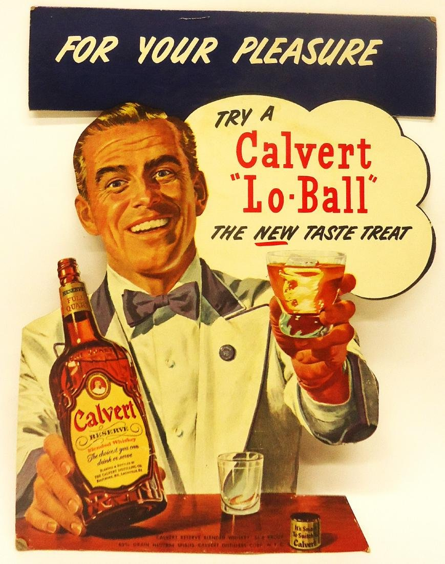 CALVERT WHISKEY ADVERTISING EASEL-BACK