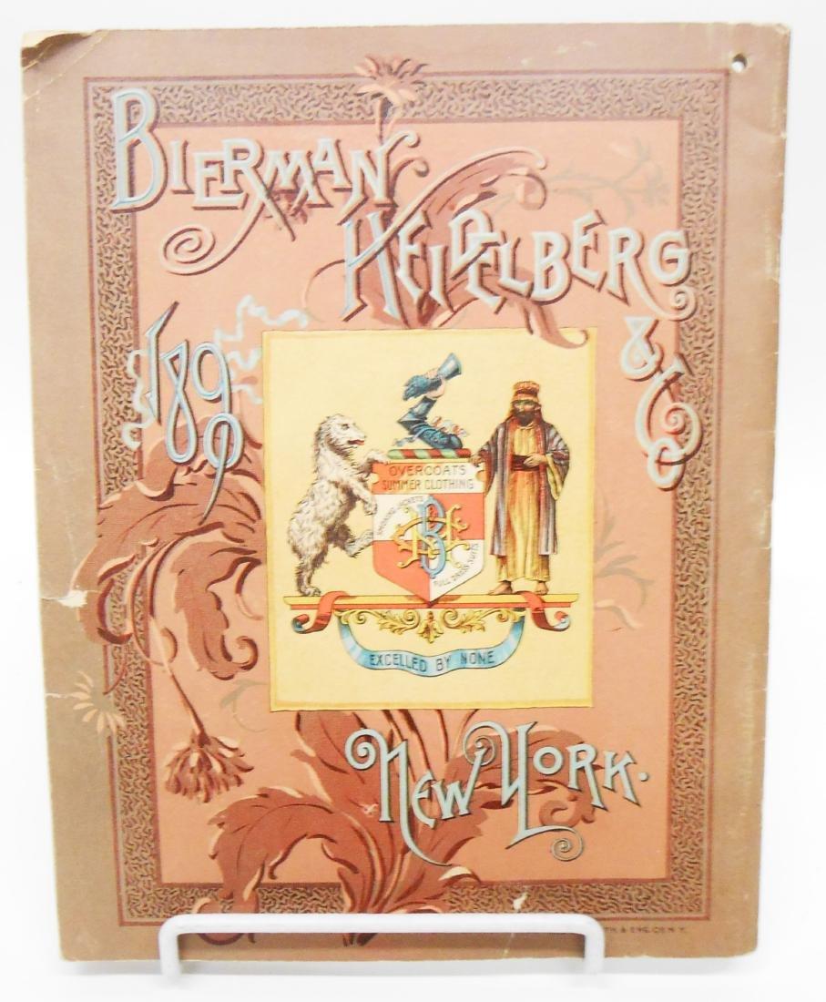 ADVERTISING BIERMAN HEIDELBERG & CO 1890 CLOTHING