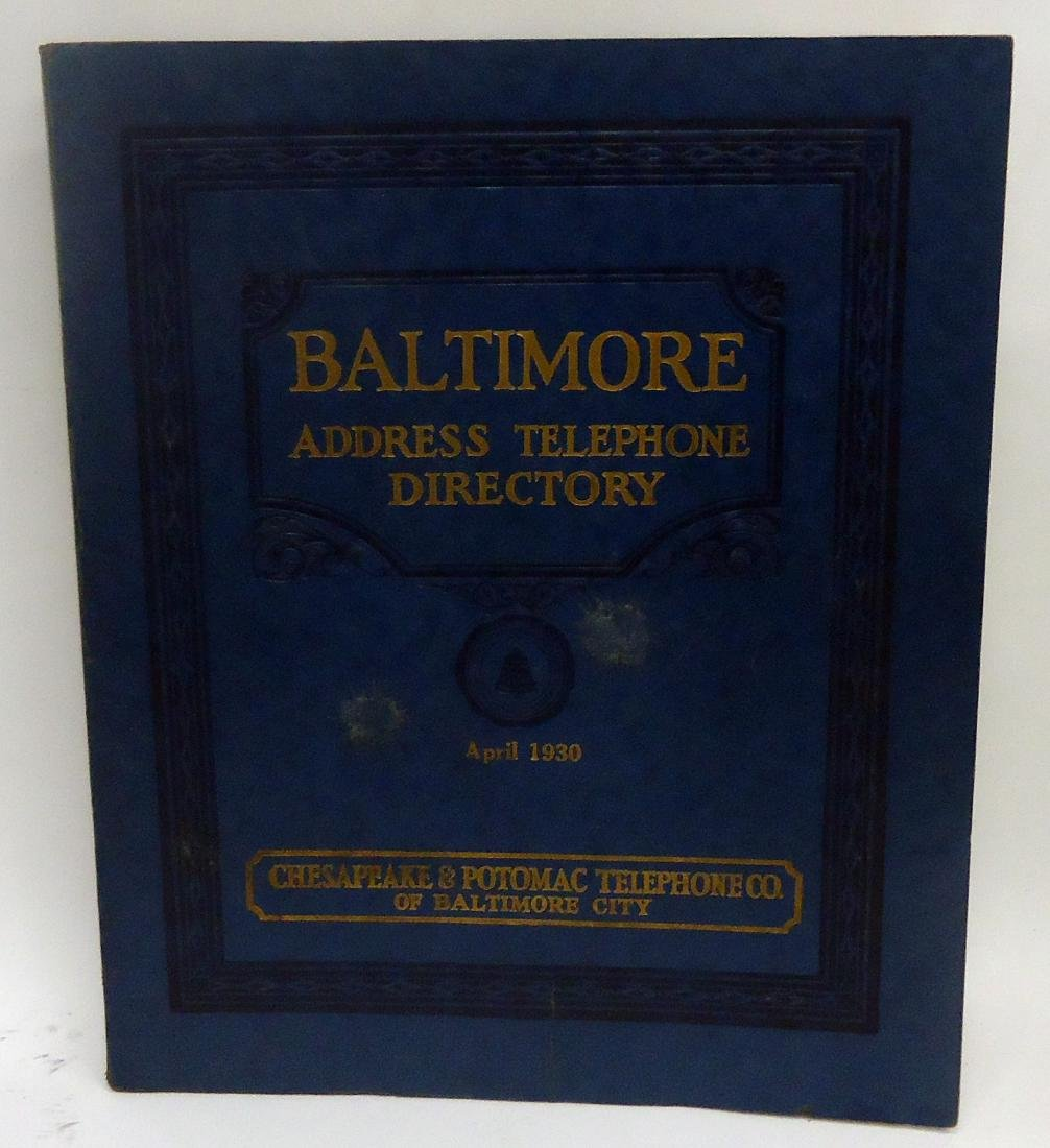 BALTIMORE ADDRESS TELEPHONE DIRECTORY