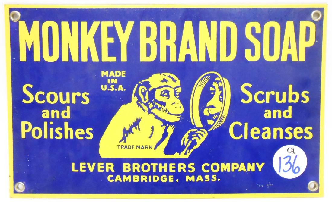 PORCELAIN LEVER BROS. MONKEY BRAND SOAP SIGN