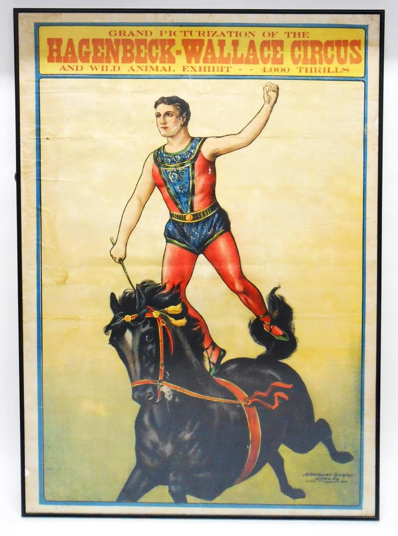EARLY HAGENBECK-WALLACE CIRCUS POSTER - STONE LITHO