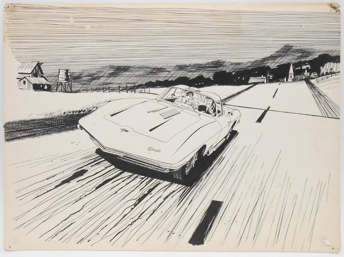 PEN & INK ILLUSTRATION ART - 1959 STINGRAY XP57 CONCEPT
