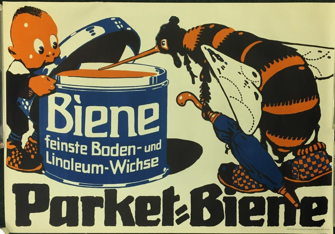 GERMAN FLOOR WAX ADVERTISING POSTER PARKET BIENE
