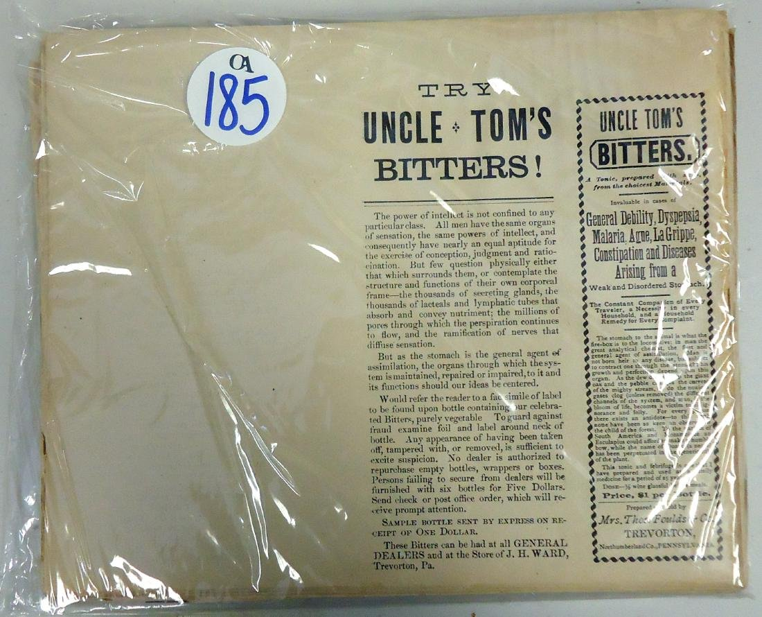 NEW OLD STOCK UNCLE TOM'S BITTERS LEAFLETS ( 100+  )
