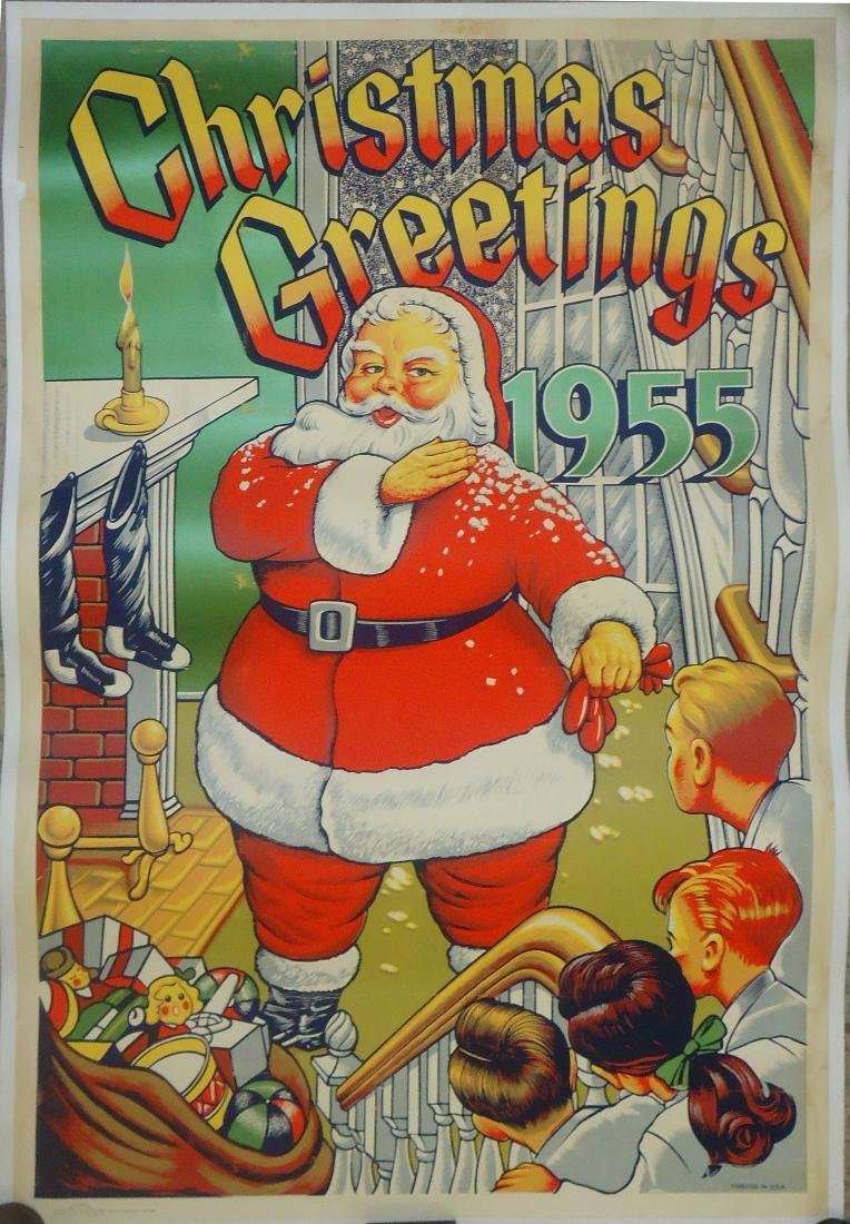 PAPER LITHO POSTER - CHRISTMAS GREETINGS 1955