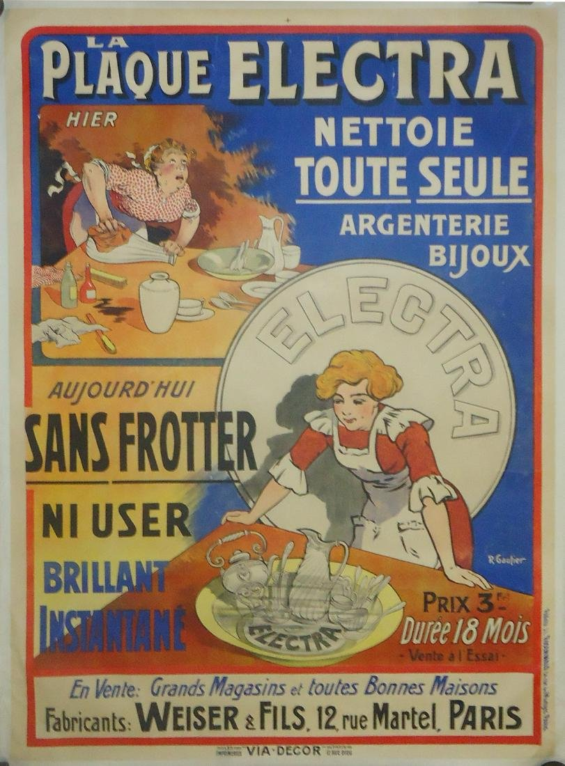 FRENCH ADVERTISING PAPER LITHO POSTER - R. GAUTIER