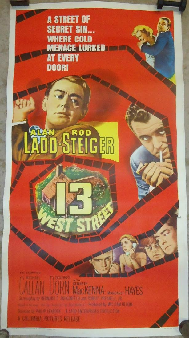 "1962 MOVIE POSTER, PAPER LITHO ""13 WEST STREET"""
