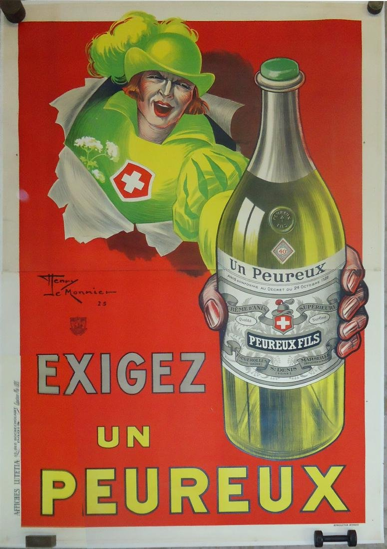 "FRENCH LIQUEUR ADVERTISING POSTER - ""EXIGEZ UN PEUREUX"""