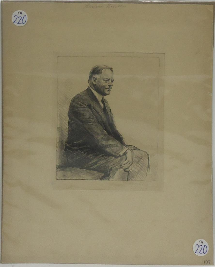 ARTIST SIGNED LITHOGRAPH OF HERBERT HOOVER
