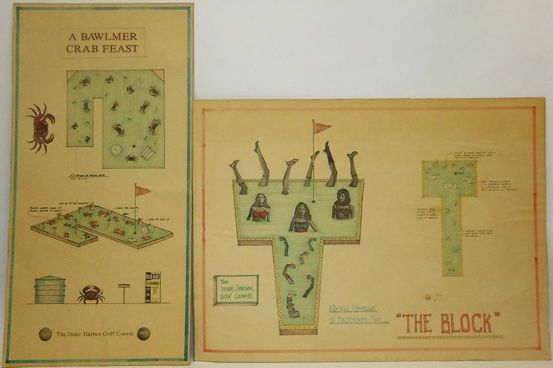 ORIGINAL ILLUSTRATION BOARDS for INNER HARBOR GOLF