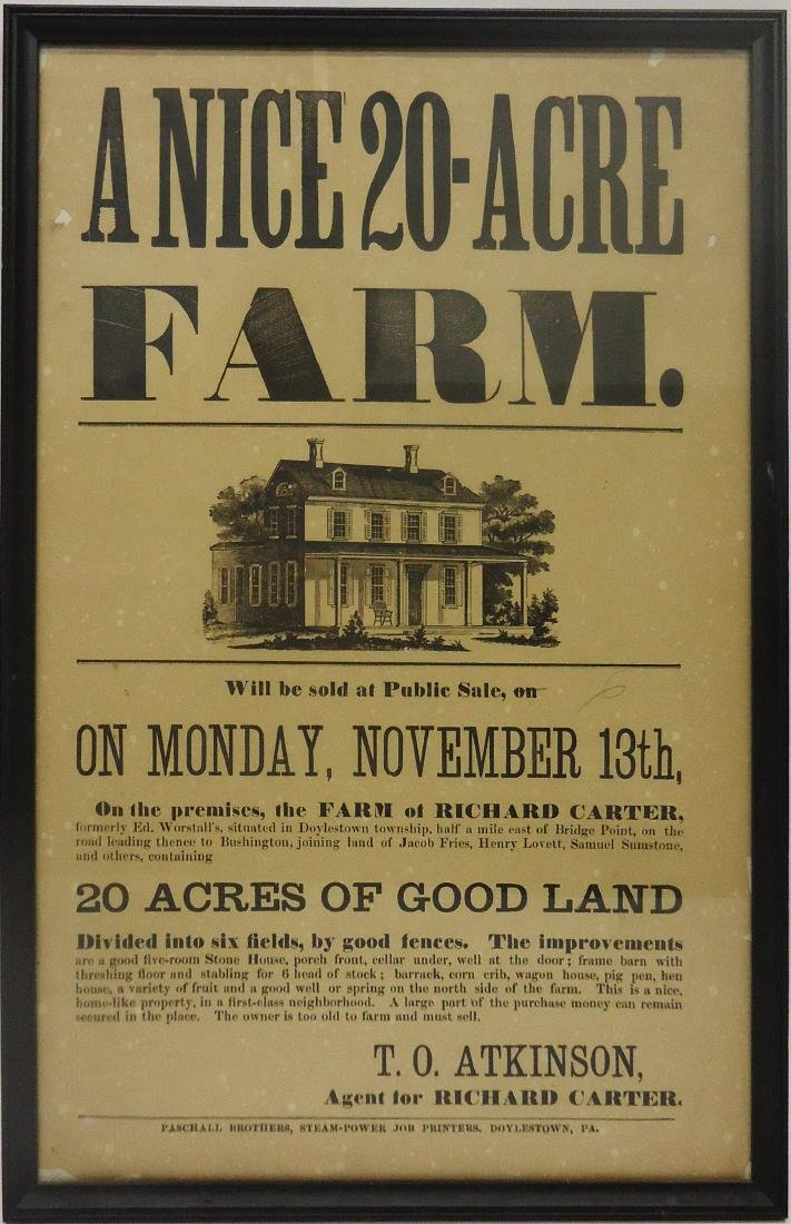 RICHARD CARTER FARM PUBLIC SALE BROADSIDE