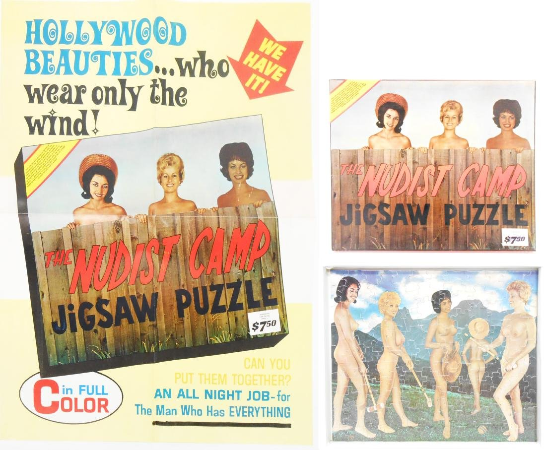 NUDIST CAMP JIGSAW PUZZLE and POSTER