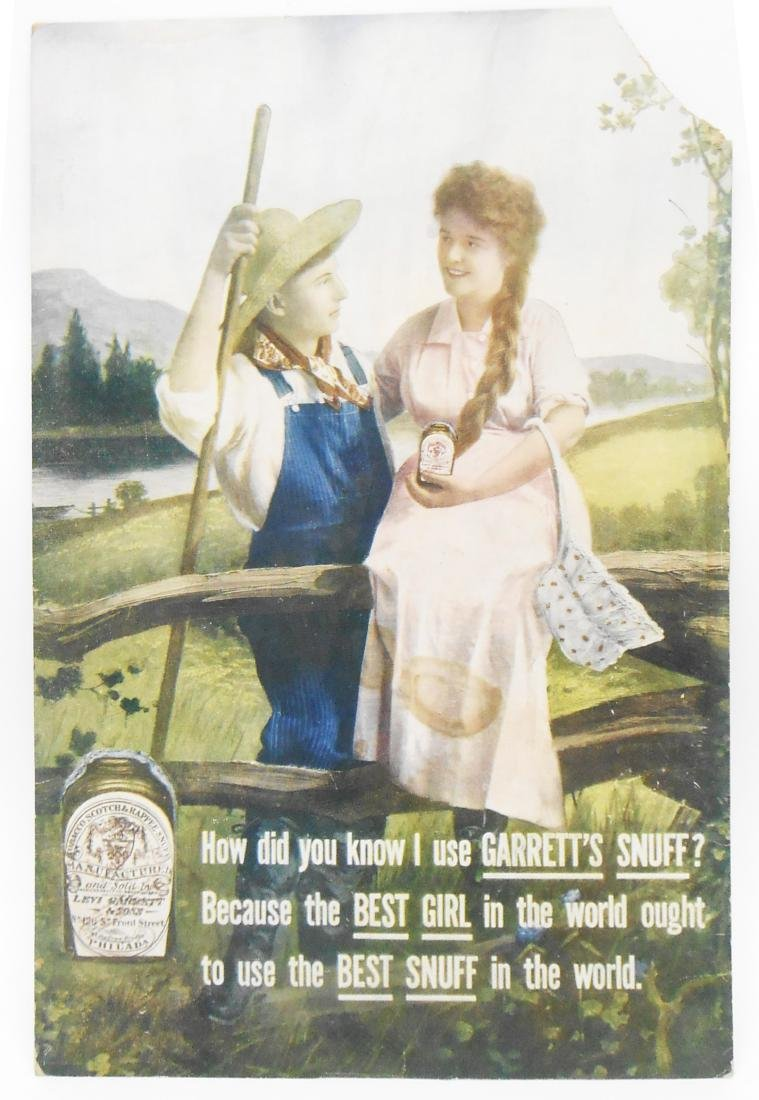 GARRETT'S SNUFF ADVERTISING SIGN