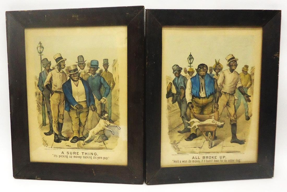 (2) BLACK AMERICANA CURRIER & IVES - DOG FIGHT PRINTS