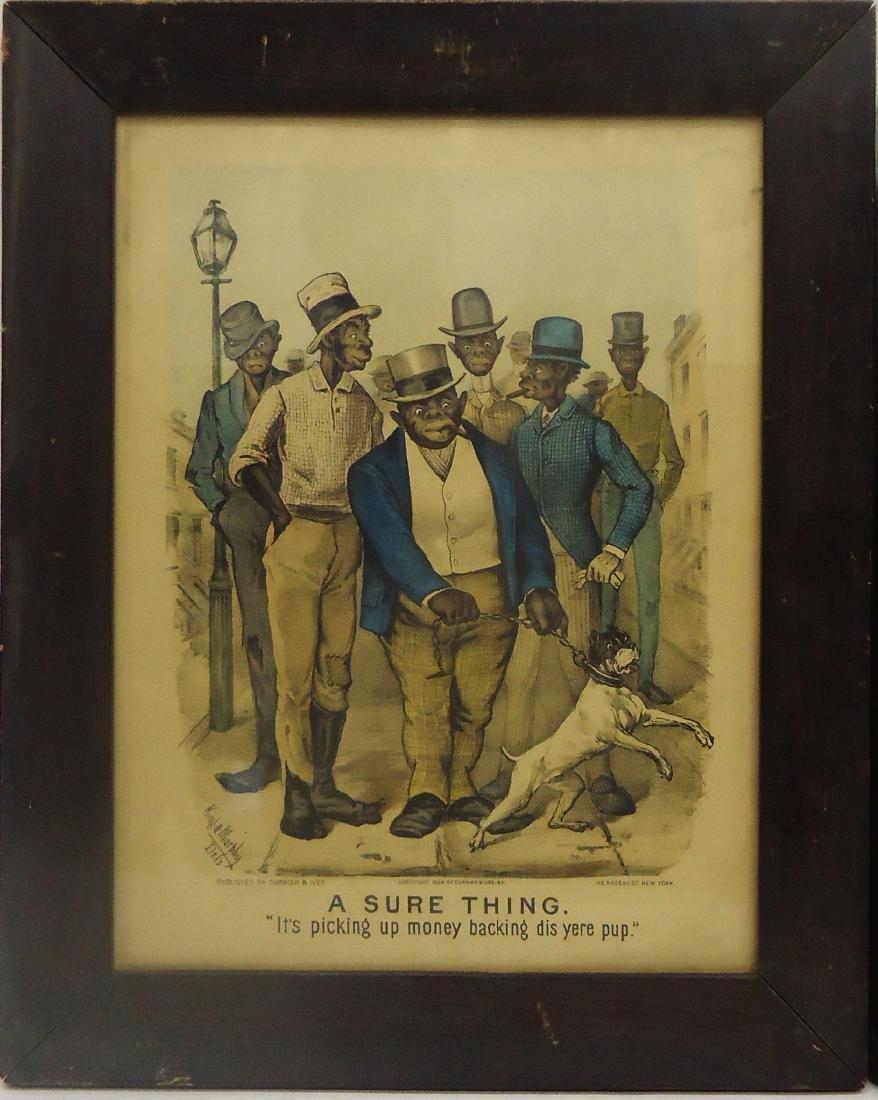 (2) BLACK AMERICANA CURRIER & IVES - DOG FIGHT PRINTS - 2