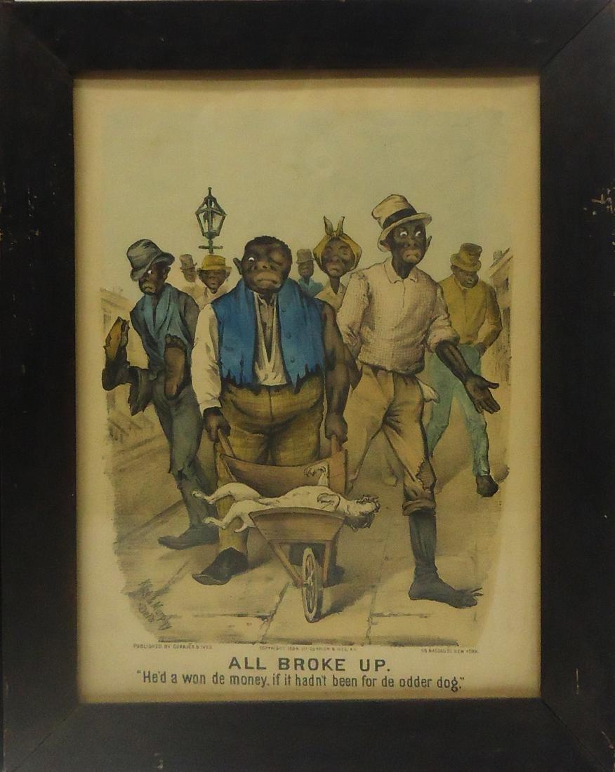 (2) BLACK AMERICANA CURRIER & IVES - DOG FIGHT PRINTS - 3