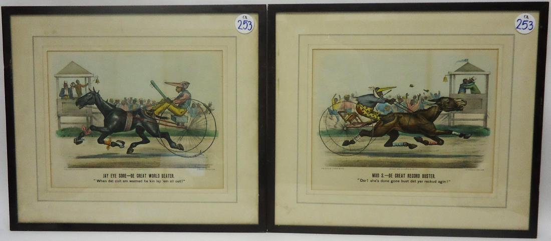 BLACK AMERICANA CURRIER & IVES HORSE RACE CARTOONS (2)