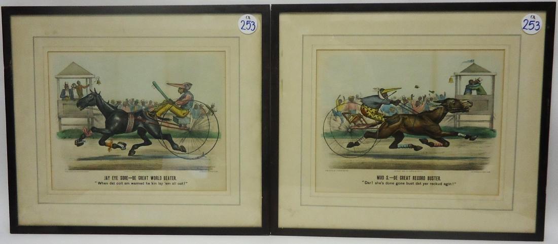 BLACK AMERICANA CURRIER & IVES HORSE RACE CARTOONS (2)