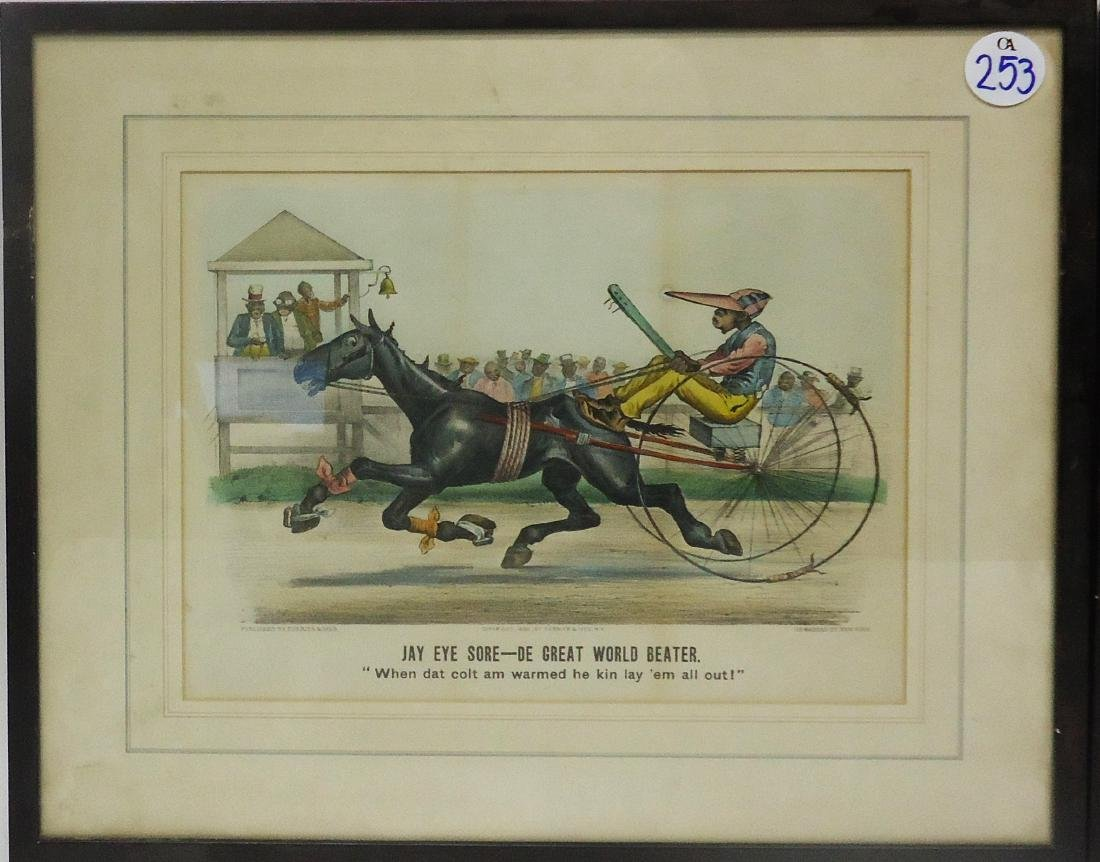BLACK AMERICANA CURRIER & IVES HORSE RACE CARTOONS (2) - 2