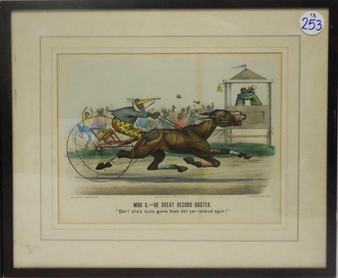 BLACK AMERICANA CURRIER & IVES HORSE RACE CARTOONS (2) - 3