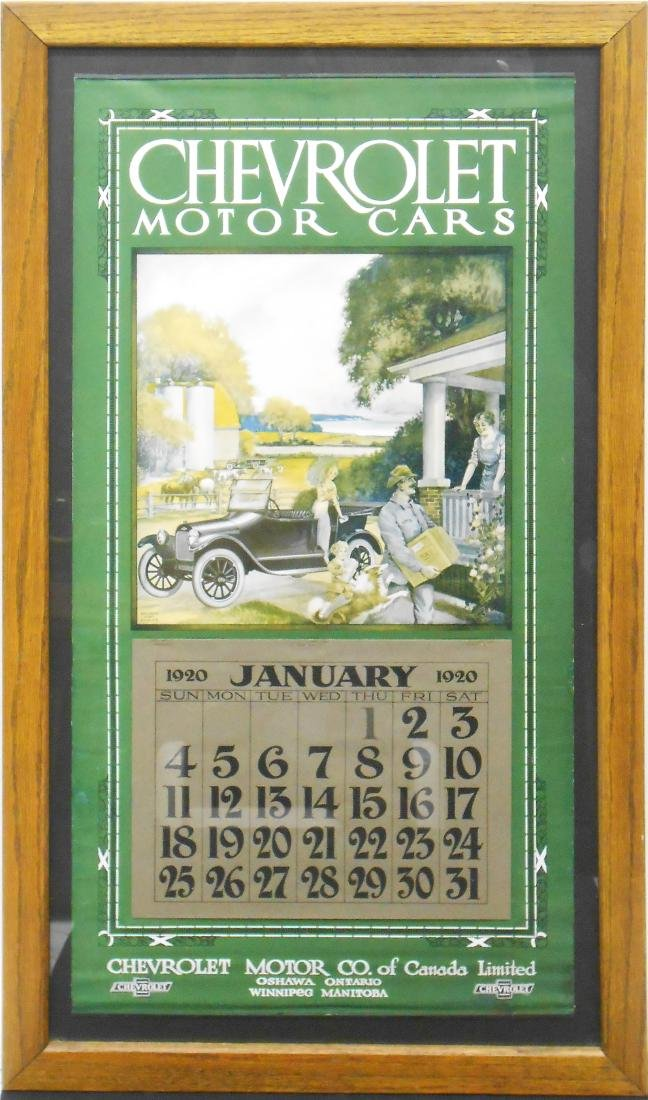 CHEVROLET MOTOR CARS 1920 CALENDAR