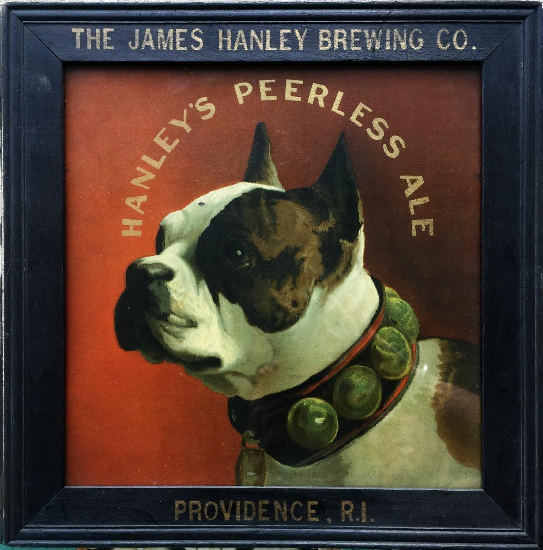 HANLEY's PEERLESS ALE ADVERTISING WITH ORIGINAL FRAME