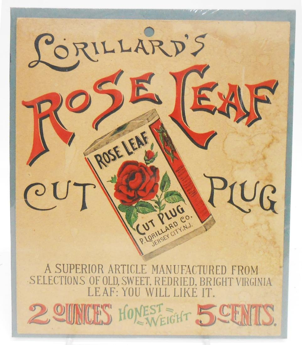 (4) ROSE LEAF CUT PLUG AND CIGAR LABEL ADVERTISING