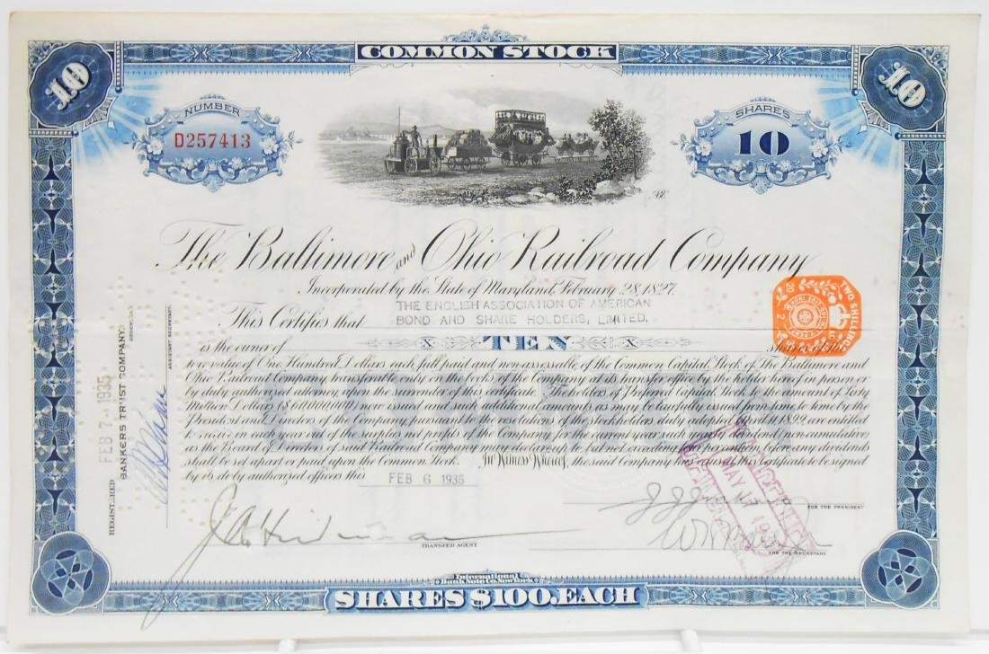 (6) BALTIMORE & B&O STOCK CERTIFICATES